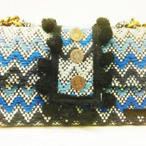 knitted bags with leather Blue