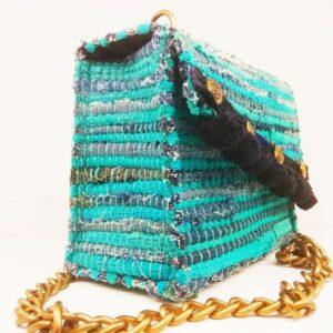 knitted bags with leather Turquoise