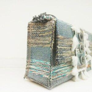 knitted bags with leather Sky