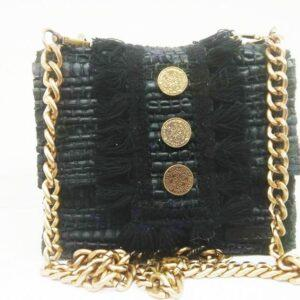 knitted bags with leather Black