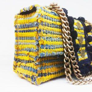 knitted bags with leather Yellow