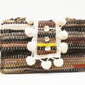 knitted bags with leather Black & White