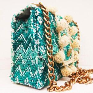 knitted bags with leather Sky Blue