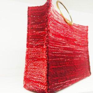 knitted bags with leather Red