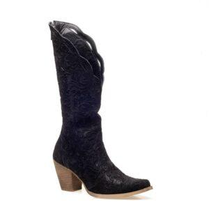 Black embossed boot