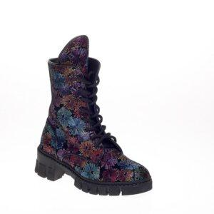 Leather Combat Boot With Flower Print