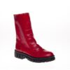 Red Leather Combat Boot