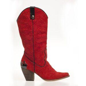 Red Leather Boot With Metal