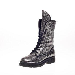 Leather Silver Combat Boot