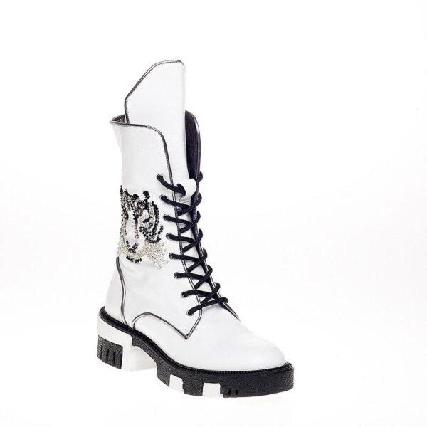 White Boot With Embroidery