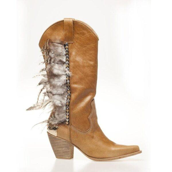 Boot With Cowboy Feathers Tan Leather